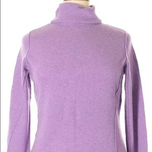Wool Cashmere Sweater Lavender Turtle Neck Large